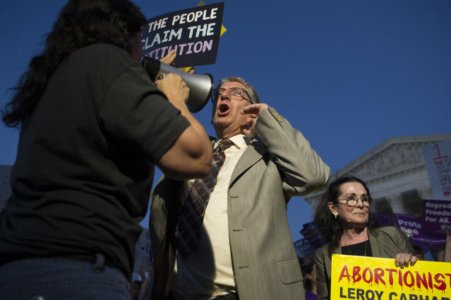 <p>Operation Rescue founder Randall Terry protests in front of the Supreme Court in Washington, Monday, July 9, 2018. (Photo: Cliff Owen/AP) </p>