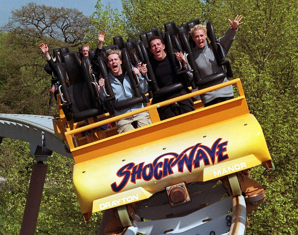 """<p>Stand-up roller coasters were a novelty when they first appeared in the '80s and '90s, but the Shockwave managed to separate itself from the pack by being the only stand-up coaster, ever, to also include a zero-gravity roll, too. Too much? Only you can decide: The ride is still open at <a href=""""https://www.draytonmanor.co.uk/rides-and-attractions/shockwave"""" rel=""""nofollow noopener"""" target=""""_blank"""" data-ylk=""""slk:Drayton Manor"""" class=""""link rapid-noclick-resp"""">Drayton Manor</a>. </p>"""