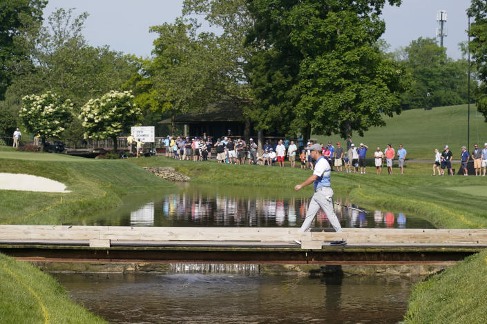 Bryson DeChambeau walks to the ninth green during the first round of the Memorial golf tournament, Friday, June 4, 2021, in Dublin, Ohio. (AP Photo/Darron Cummings)