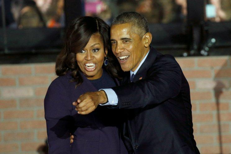 President Barack Obama and first lady Michelle Obama react during a rally for Hillary Clinton in Philadelphia, Nov. 7, 2016. (Kevin Lamarque/Reuters)