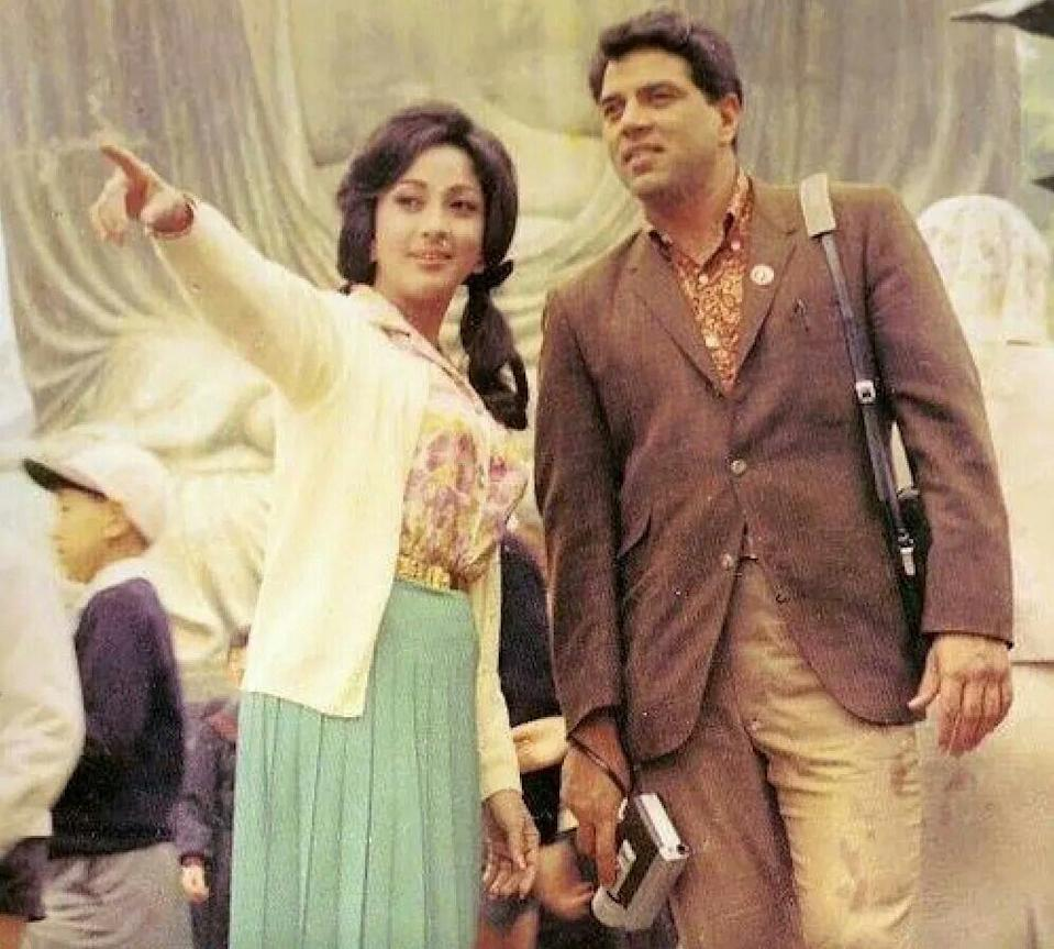 With Dharmendra in Aankhen