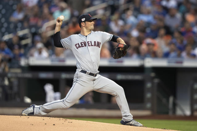 Cleveland Indians starting pitcher Adam Plutko delivers against the New York Mets during the first inning of a baseball game Wednesday, Aug. 21, 2019, in New York. (AP Photo/Mary Altaffer)