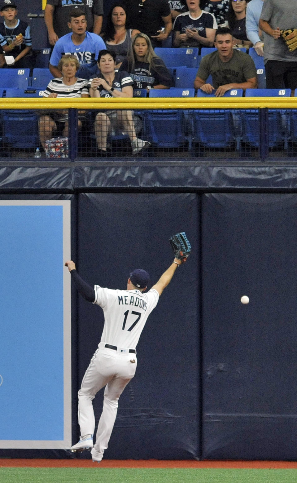 A fly ball hit by Chicago White Sox's Leury Garcia sails over Tampa Bay Rays center fielder Austin Meadows (17) for a double during the first inning of a baseball game Friday, July 19, 2019, in St. Petersburg, Fla. (AP Photo/Steve Nesius)
