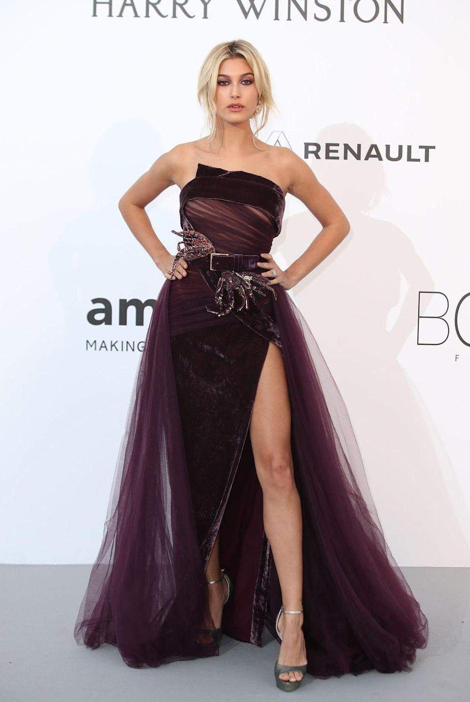 "<p>Hailey Baldwin<span class=""redactor-invisible-space""> wore a dark purple tulle Elie Saab gown to attend the amfAR gala in Cannes.</span></p>"