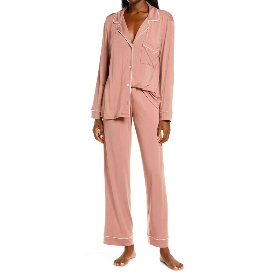 """<a href=""""https://www.glamour.com/gallery/best-pajamas-loungewear-shopping?mbid=synd_yahoo_rss"""" rel=""""nofollow noopener"""" target=""""_blank"""" data-ylk=""""slk:Pajamas"""" class=""""link rapid-noclick-resp"""">Pajamas</a> might not make the cut for most exciting Hanukkah or Christmas gift, but Eberjey's beloved sets are so soft and comfy, they'll win her over before she's done unwrapping. $120, Nordstrom. <a href=""""https://www.nordstrom.com/s/eberjey-gisele-pajamas/3411913"""" rel=""""nofollow noopener"""" target=""""_blank"""" data-ylk=""""slk:Get it now!"""" class=""""link rapid-noclick-resp"""">Get it now!</a>"""