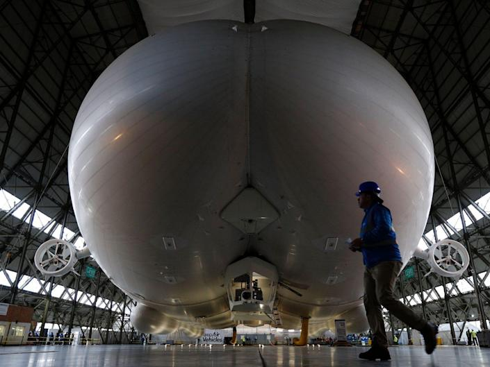 the exterior of the Airlander 10 in a hangar