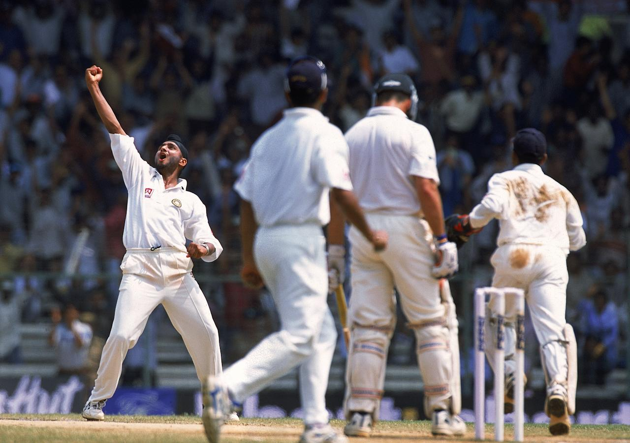 22 Mar 2001:  Harbhajan Singh of India celebrates after trapping Colin Miller of Australia for an lbw decision during the Third Test match played at the Chidambaram Stadium in Chepauk, Chennai, India. India won the game by 2 wickets to win the three testseries 2-1. \ Mandatory Credit: Shaun Botterill /Allsport