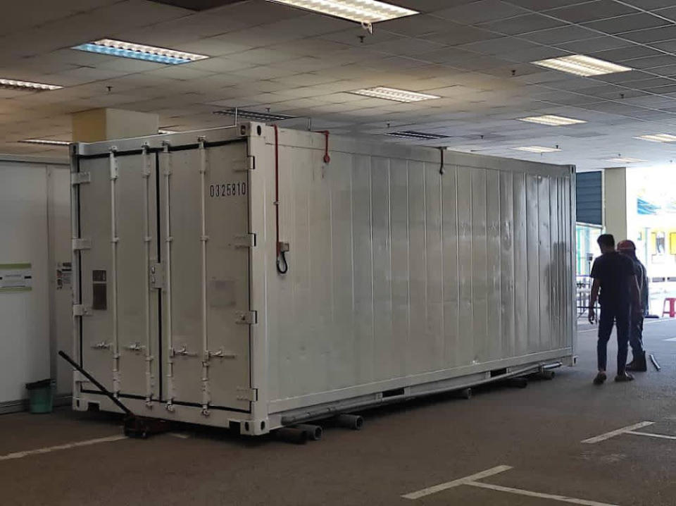 The Ministry of Health shared that the Sungai Buloh Hospital is now forced to prepare a morgue container on-site to house bodies of dead Covid-19 patients May 16, 2021. — Picture via Twitter/KKMalaysia
