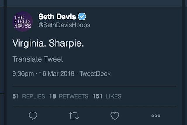 "Seth Davis tweeted ""Virginia. Sharpie."" less than two minutes into the game. (Twitter)"