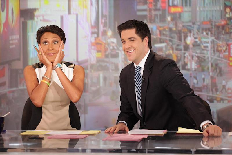 "This image released by ABC shows ""Good Morning America"" co-host Robin Roberts, left, and co-host Josh Elliott on the popular morning show on Thursday, Aug. 30, 2012 in New York. Roberts has said goodbye to ""Good Morning America,"" but only for a while. The ""GMA"" anchor made her final appearance Thursday before going on medical leave for a bone marrow transplant. Roberts' departure was first planned for Friday, but she chose to exit a day early to visit her ailing mother in Mississippi. In July she first disclosed that she has MDS, a blood and bone marrow disease. She will be hospitalized next week to prepare for the transplant. The donor will be her older sister, Sally-Ann Roberts. (AP Photo/ABC, Fred Lee)"