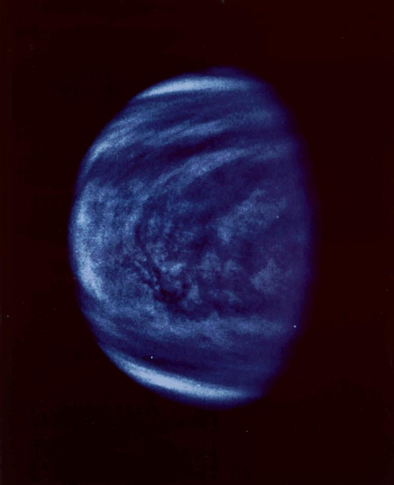 This photo of Venus was taken by the Galileo spacecraft's Solid State Imaging System on February 14, 1990, at a range of almost 1.7 million miles from the planet. (AP PHOTO/NASA)
