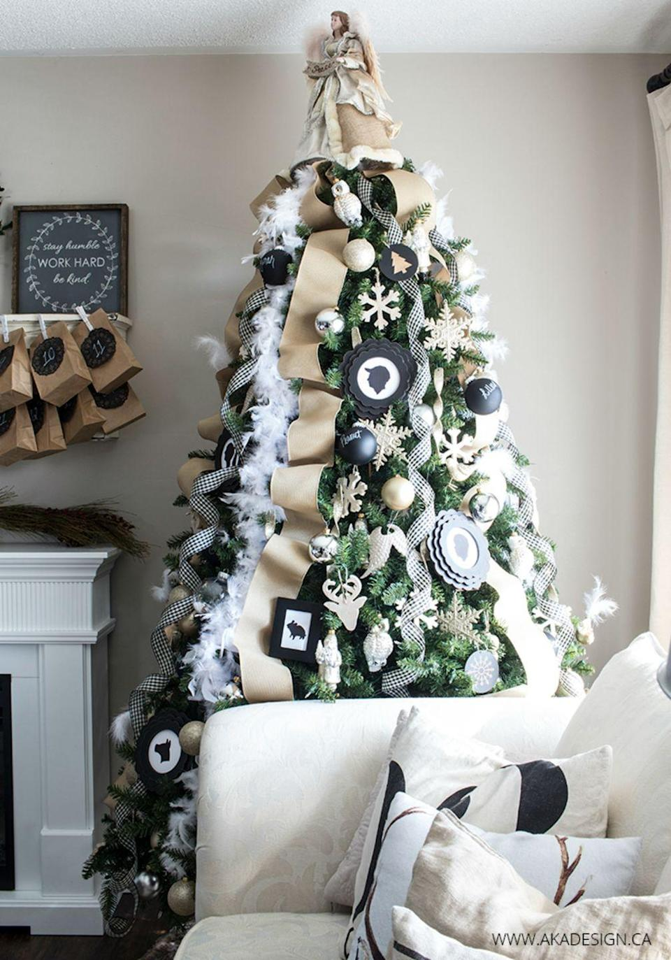 """<p>Start off with a pre-lit faux tree and add in cozy neutral features like gingham ribbons and black ornaments for this sparkly black-and-white display.</p><p><em><strong>Get the tutorial at </strong><strong><a href=""""http://akadesign.ca/glittery-neutral-christmas-tree/"""" rel=""""nofollow noopener"""" target=""""_blank"""" data-ylk=""""slk:Home Made Lovely"""" class=""""link rapid-noclick-resp"""">Home Made Lovely</a>.</strong></em></p><p><a class=""""link rapid-noclick-resp"""" href=""""https://www.amazon.com/Cynthias-Feathers-Chandelle-Feather-Tinsels/dp/B00KBVX2YO/?tag=syn-yahoo-20&ascsubtag=%5Bartid%7C10070.g.2025%5Bsrc%7Cyahoo-us"""" rel=""""nofollow noopener"""" target=""""_blank"""" data-ylk=""""slk:BUY WHITE FEATHER BOA"""">BUY WHITE FEATHER BOA</a></p>"""