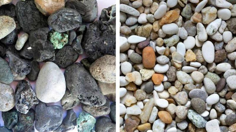The plastic pebbles blend seemlessly into the stone pebbles on the beach. Image credit; CORNISH PLASTIC COALITION