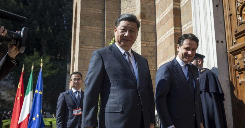 Italian Premier Giuseppe Conte meets Chinese President Xi Jinping to sign trade agreements on Belt and Road Initiative, on March 23, 2019 in Rome, Italy.