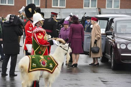 Britain's Queen Elizabeth arrives at Lucknow Barracks to present leeks to soldiers from The Royal Welsh Regiment to mark St David's Day, in Tidworth, Britain March 3, 2017.  REUTERS/Ben Birchall