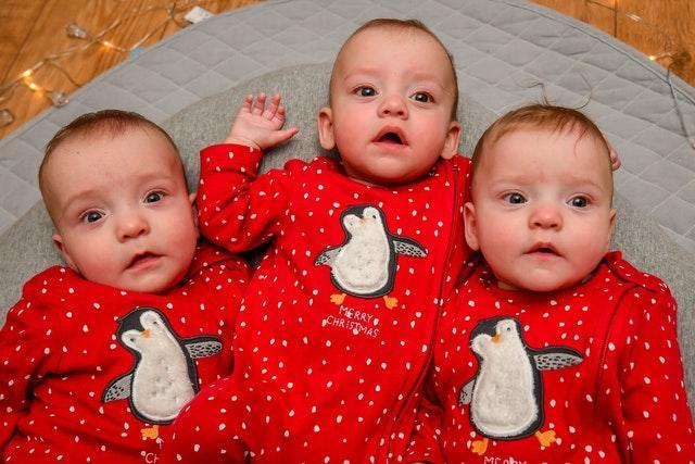 Triplets celebrate first Christmas