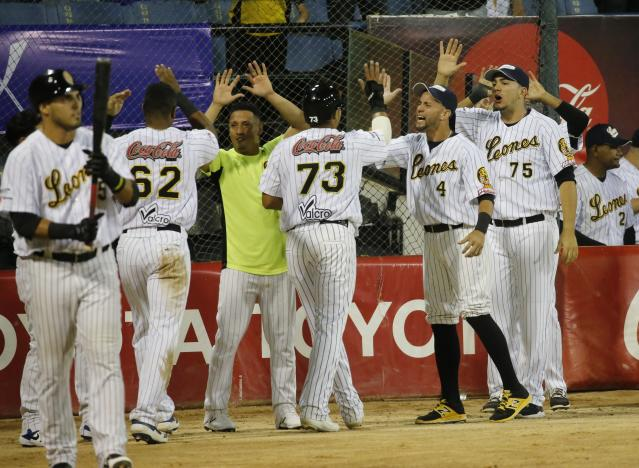 Leones de Caracas players celebrates a run against Tigres of Aragua during the opening winter season baseball game in Caracas, Venezuela, Tuesday, Nov. 5, 2019. Major league players were noticeably absent, many fans said. (AP Photo/Ariana Cubillos)