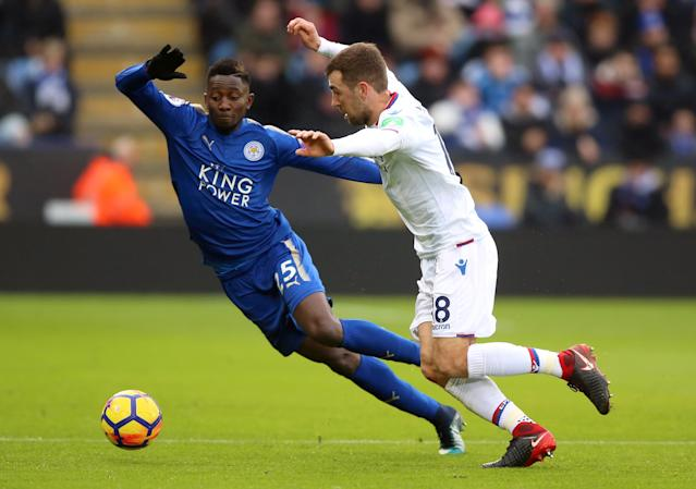 Leicester City's Wilfred Ndidi was shown a second yellow card for a dive in the penalty area. (Getty)