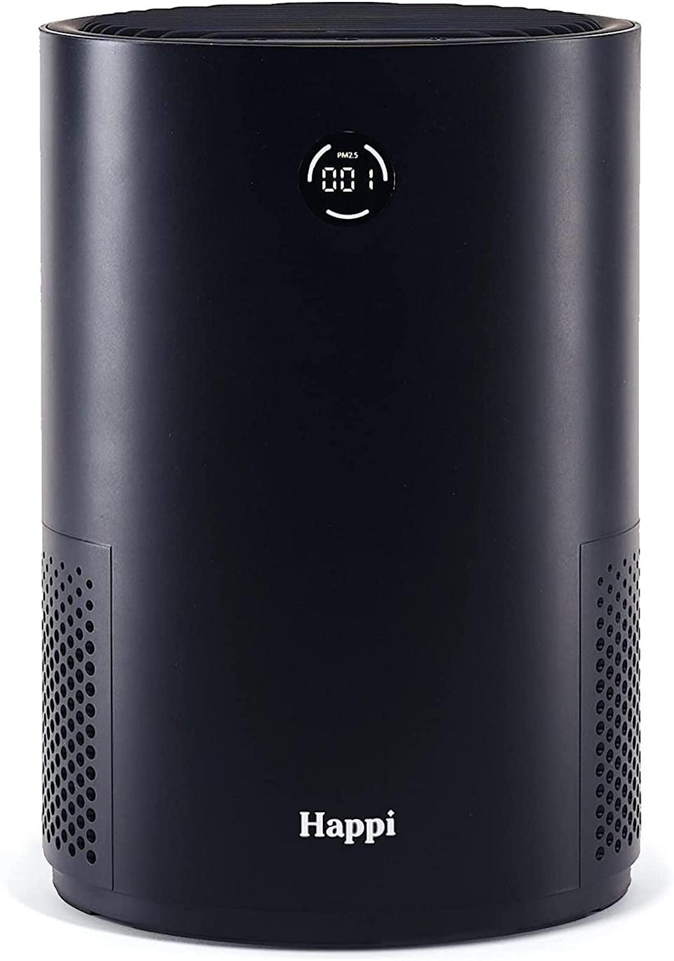 """<p>""""This <span>My Happi Air Purifier</span> ($129-$149) has kept my home's air clean throughout some of the worst air-quality days (smoke included). The screen on the front lets you know the airborne particulate matter levels at all times, and when the light turns red (meaning bad air quality), it gets to work! The purifier is small enough to place on a desk or next to your bed, although I keep it right on my living room floor. I love it, and the attractive packaging is also a win."""" - Haley Lyndes, editorial assistant, Living</p>"""