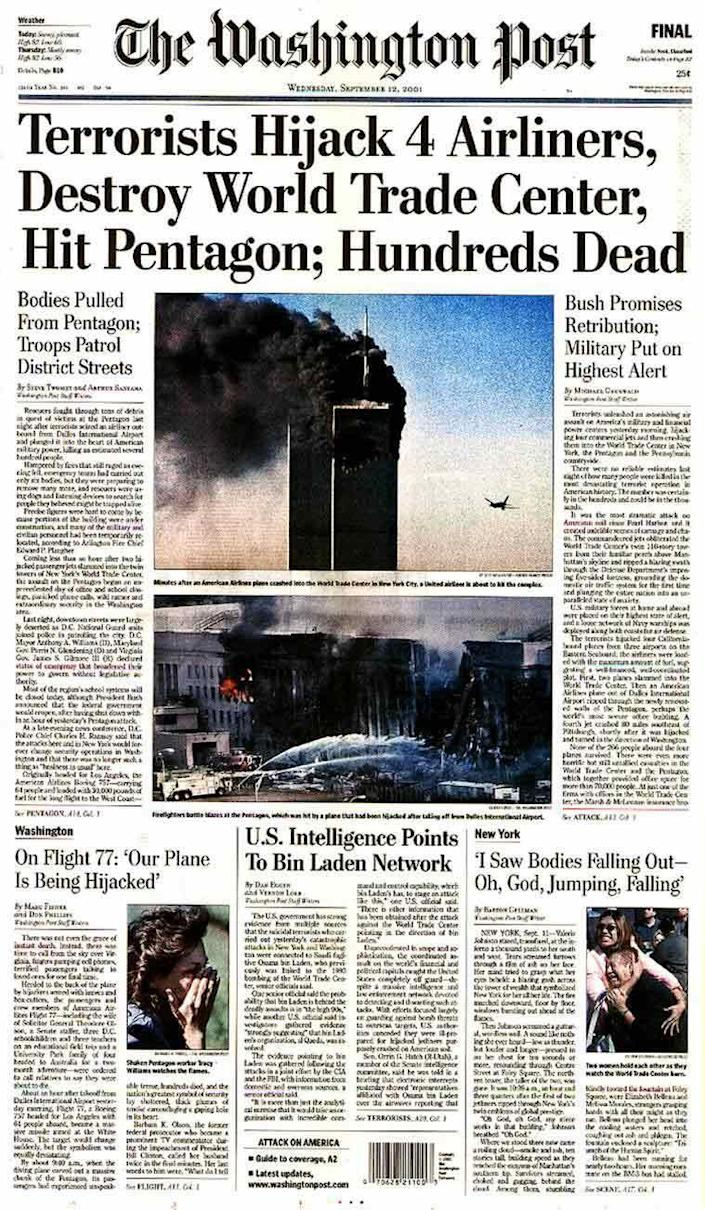 The Washington Post's front page on 12 September, 2001 (The Washington Post)