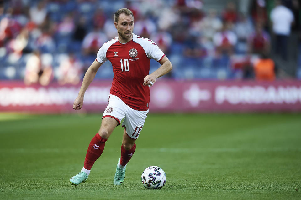 BRONDBY, DENMARK - JUNE 06: Christian Eriksen of Denmark in action during the test match between Denmark and Bosnia-Herzegovina at Brondby Stadion on June 06, 2021 in Brondby, Denmark. (Photo by Jan Christensen / FrontzoneSport via Getty Images)