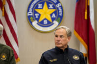 Texas Gov. Greg Abbott attends a security briefing at the Weslaco Department of Public Safety DPS Headquarters on Wednesday, June 30, 2021 in Weslaco, Texas. Gov. Abbott says that he has tested negative for COVID-19, four days after testing positive. He said in a video clip he tweeted on Saturday, Aug. 21, 2021 that he's been told his infection was brief and mild because he was vaccinated. (Jabin Botsford/The Washington Post via AP, Pool)