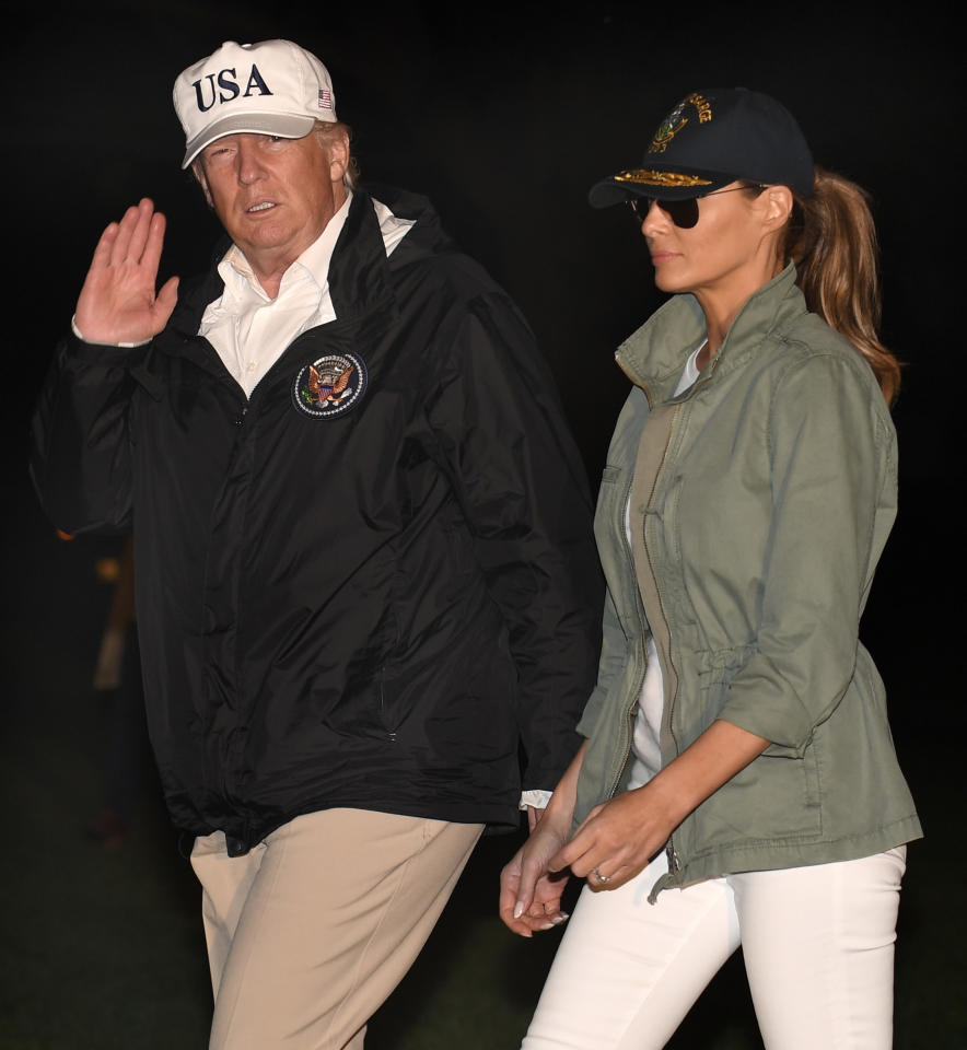 <p>President Donald Trump and first lady Melania Trump return to the White House after a day trip to Puerto Rico where they viewed damage from Hurricane Maria on Oct.3, 2017 in Washington. (Photo: Mike Theiler-Pool/Getty Images) </p>