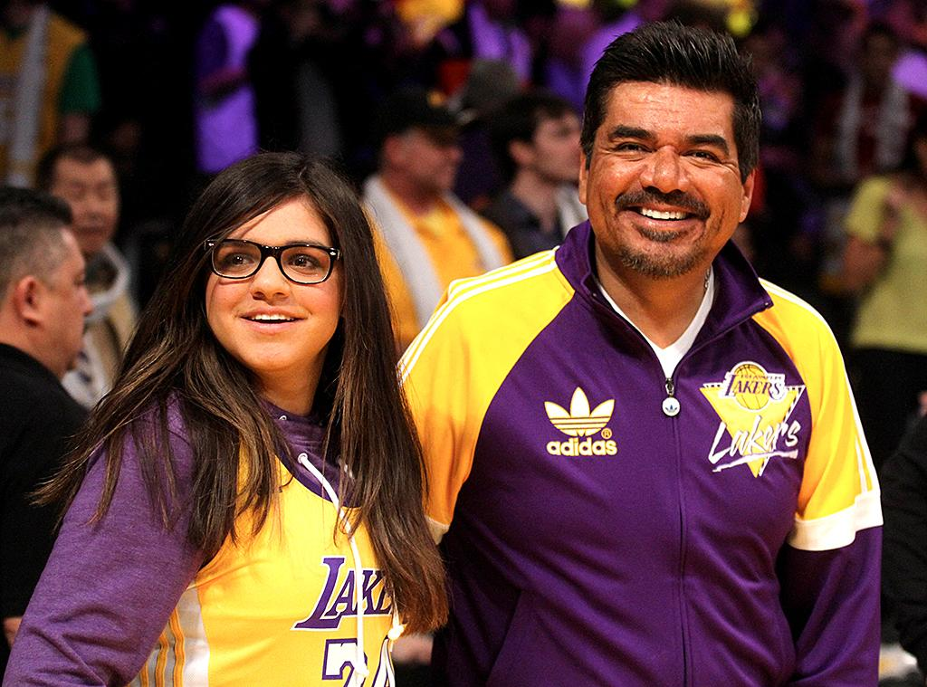 George Lopez attends the Los Angeles Lakers Vs The New York Knicks Basketball Game at the Staples Center in Los Angeles, CA.