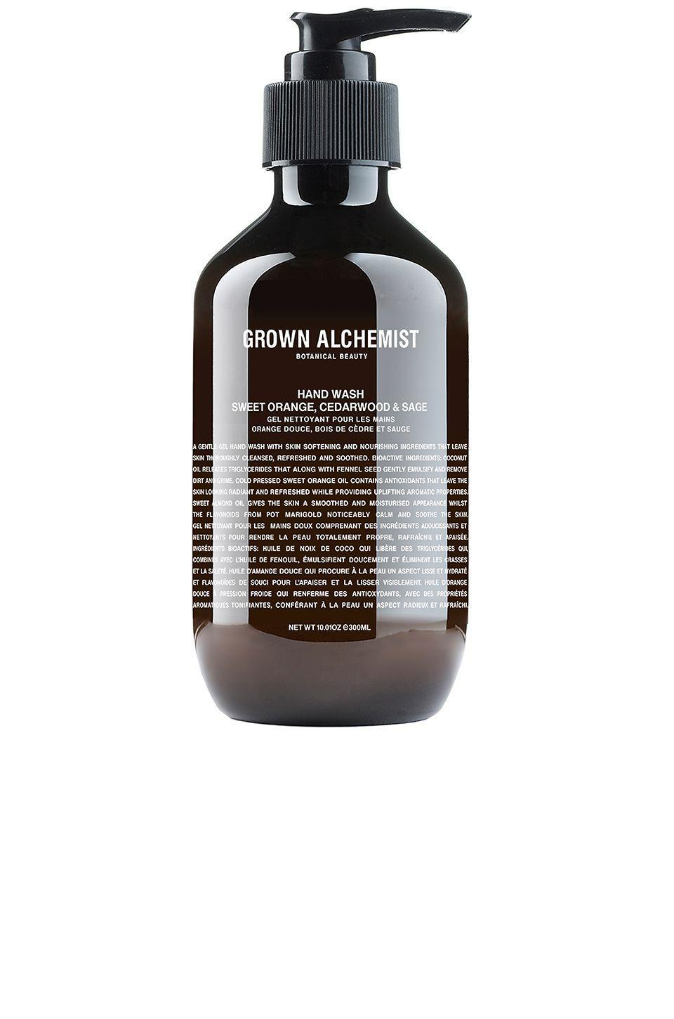 """<p><strong>Grown Alchemist Hand Wash in Sweet Orange, Cedarwood & Sage</strong></p><p>revolve.com</p><p><strong>$37.00</strong></p><p><a href=""""https://go.redirectingat.com?id=74968X1596630&url=https%3A%2F%2Fwww.revolve.com%2Fgrown-alchemist-hand-wash-sweet-orange-cedarwood-sage%2Fdp%2FGRAL-UU14%2F%3Fd%3DWomens%26fbreq%3Del%252F%26product%3DGRAL-UU14%26bneEl%3Dfalse&sref=https%3A%2F%2Fwww.elle.com%2Fbeauty%2Fmakeup-skin-care%2Fg13968711%2Fbest-hand-soap%2F"""" rel=""""nofollow noopener"""" target=""""_blank"""" data-ylk=""""slk:Shop Now"""" class=""""link rapid-noclick-resp"""">Shop Now</a></p><p>Australian clean beauty brand Grown Alchemist's hand wash come in large apothecary pumps that last—and the fragrance blends are super uplifting. </p>"""