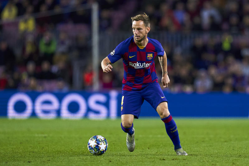 BARCELONA, SPAIN - NOVEMBER 05: Ivan Rakitic of FC Barcelona with the ball during the UEFA Champions League group F match between FC Barcelona and Slavia Praha at Camp Nou on November 05, 2019 in Barcelona, Spain. (Photo by Quality Sport Images/Getty Images)