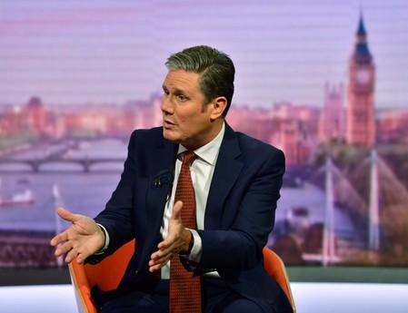 Keir Starmer appears on BBC TV's The Andrew Marr Show in London