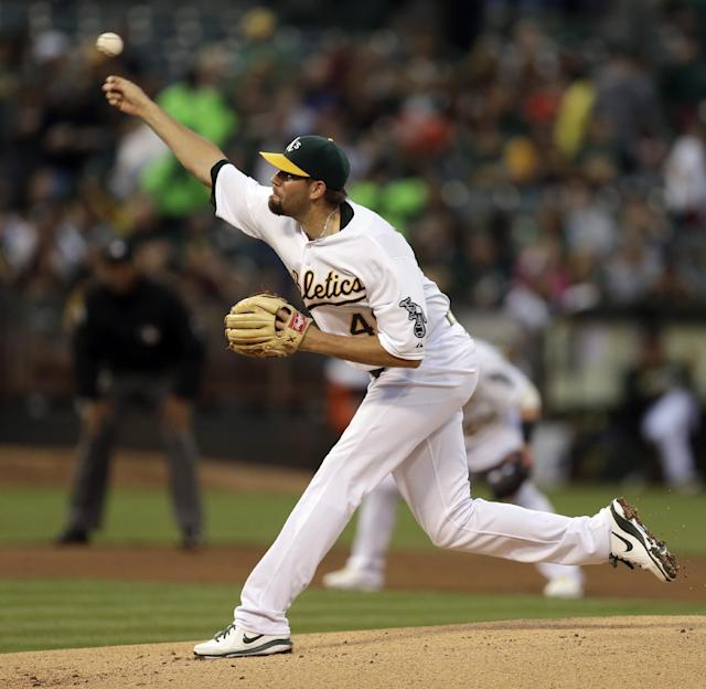 Oakland Athletics' Jason Hammel works against the Tampa Bay Rays in the first inning of a baseball game Tuesday, Aug. 5, 2014, in Oakland, Calif. (AP Photo/Ben Margot)