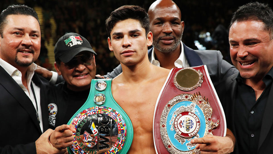 Ryan Garcia, pictured here after defeating Romero Duno in a lightweight fight in 2019.