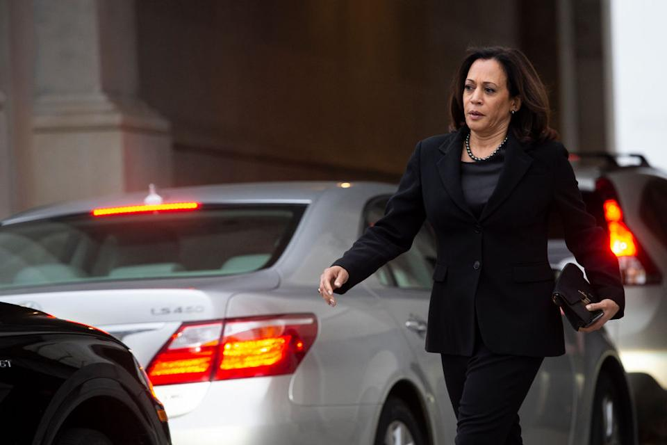 Senator Kamala Harris departs from the Capitol after the Senate voted to acquit President Donald Trump.