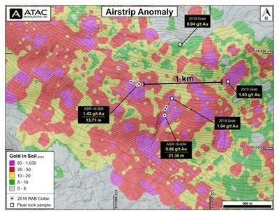 Airstrip Gold Anomaly (CNW Group/ATAC Resources Ltd.)