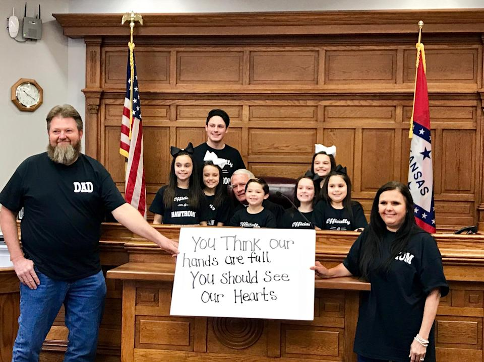Just in time for Christmas, seven siblings are adopted by their foster parents, Terri and Michael Hawthorn. (Photo: Michael Hawthorn)