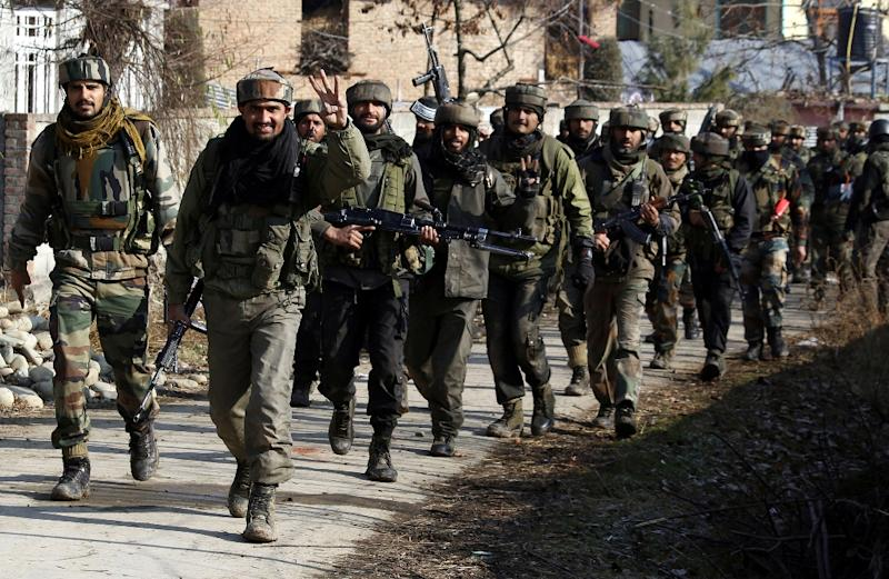 Indian army soldiers on patrol in Pulwama, scene of the February's deadly militant attack