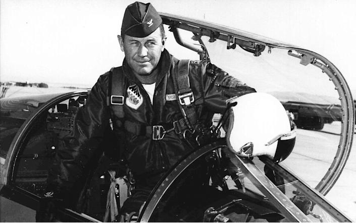Chuck Yeager at Edwards Air Force Base in California, where he commanded the Test Pilot School in 1962