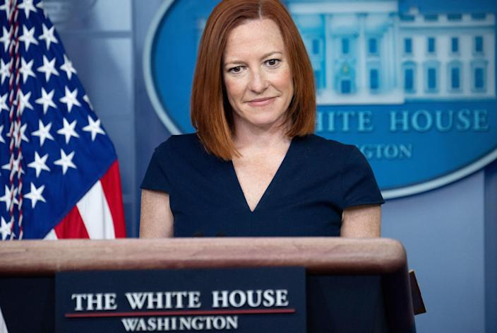 <p>White House Press Secretary Jen Psaki answered Kacey Montagu's questions until she turned out not to be a real person</p> (AFP via Getty Images)