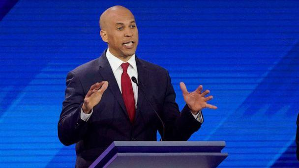 PHOTO: Democratic presidential candidate Sen. Cory Booker answers a question, Sept. 12, 2019, during a Democratic presidential primary debate hosted by ABC at Texas Southern University in Houston. (David J. Phillip/AP)