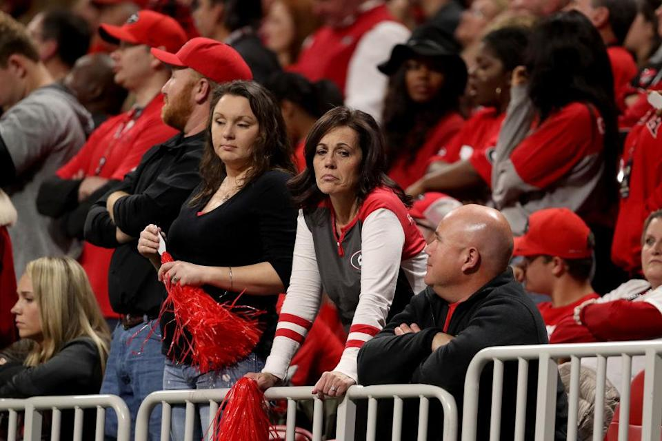 Georgia fans didn't have much to smile about after losing the national championship to SEC rival Alabama. (Getty)