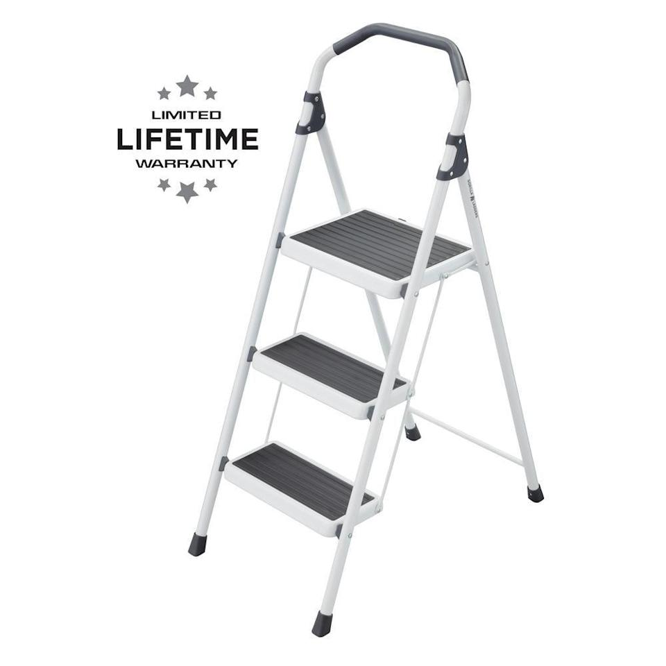 """<p><strong>Gorilla Ladders</strong></p><p>homedepot.com</p><p><strong>$39.97</strong></p><p><a href=""""https://go.redirectingat.com?id=74968X1596630&url=https%3A%2F%2Fwww.homedepot.com%2Fp%2FGorilla-Ladders-3-Step-Steel-Lightweight-Step-Stool-Ladder-225-lbs-Load-Capacity-Type-II-Duty-Rating-GLS-3-2%2F310833692&sref=https%3A%2F%2Fwww.elledecor.com%2Fhome-remodeling-renovating%2Fhome-makeovers%2Fg36087440%2Feasy-diy-home-renovation-projects%2F"""" rel=""""nofollow noopener"""" target=""""_blank"""" data-ylk=""""slk:Shop Now"""" class=""""link rapid-noclick-resp"""">Shop Now</a></p><p>If you've grown accustomed to standing on chairs to access hard-to-reach spots, it's time to invest in a step stool, especially before you take on a DIY project. The 3-step steel step stool ladder is sturdy and can be stored easily.</p>"""