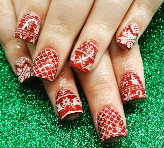 Ugly Christmas Sweater nails are a thing and we are cracking up