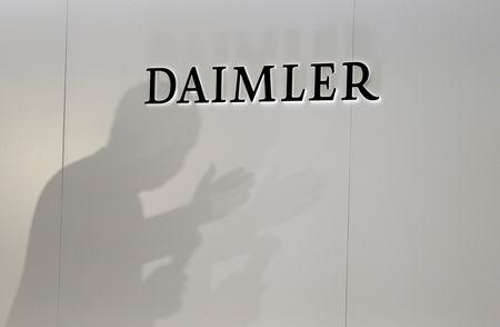FILE PHOTO: The Daimler is seen during a press conference on the second press day of the Paris auto show, in Paris, France, October 3, 2018. REUTERS/Regis Duvignau/File Photo