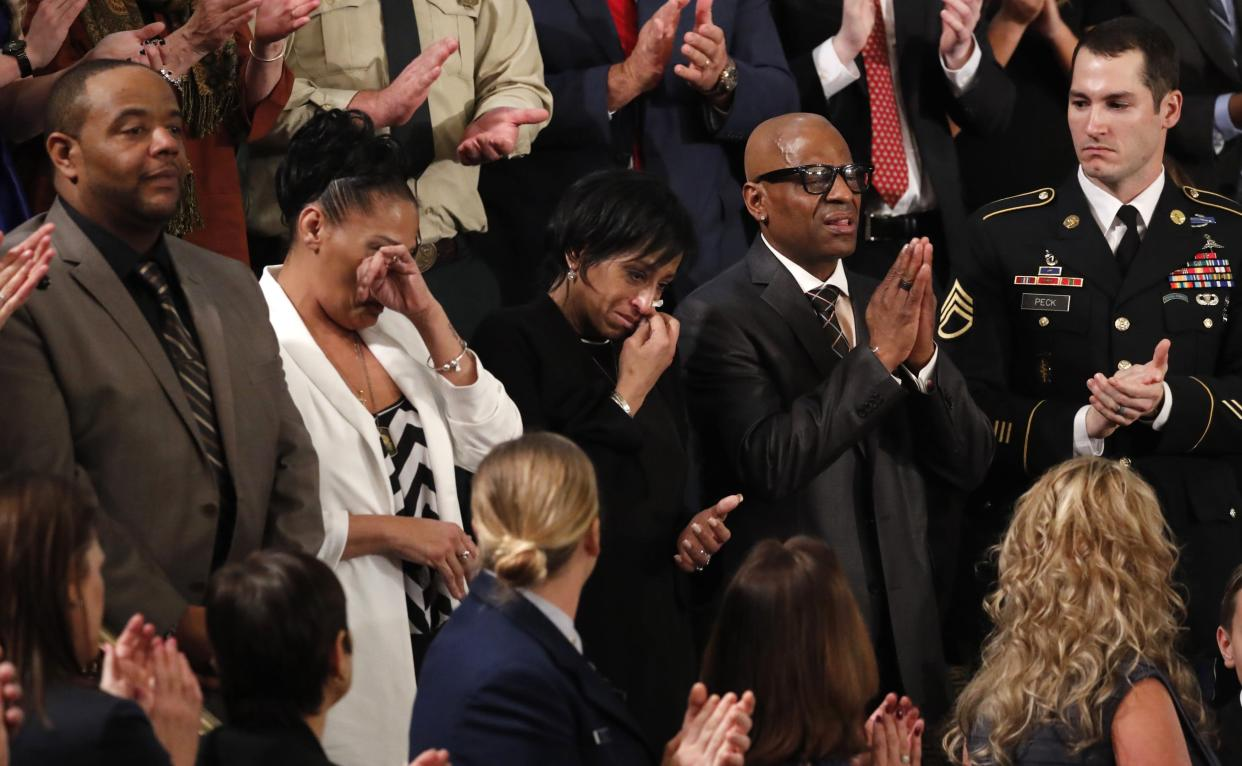 President Trump introduces parents of MS-13 victims during his State of the Union address on Tuesday. (Photo: Jonathan Ernst/Reuters)