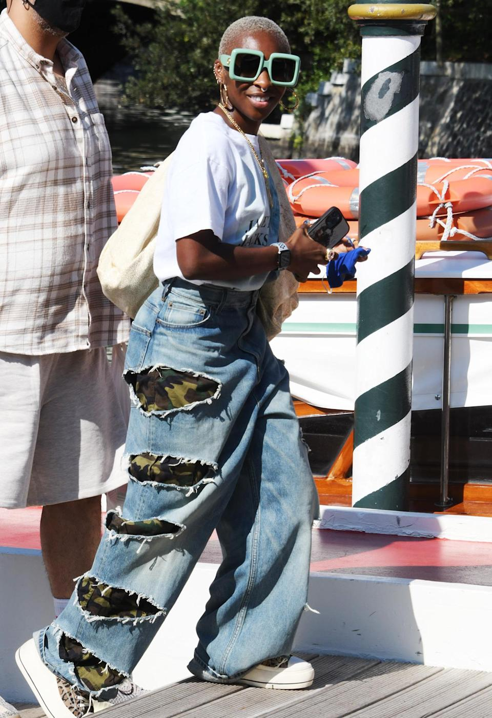 <p>Cynthia Erivo sports jeans and a tee during day two of the Venice Film Festival on Sept. 2.</p>