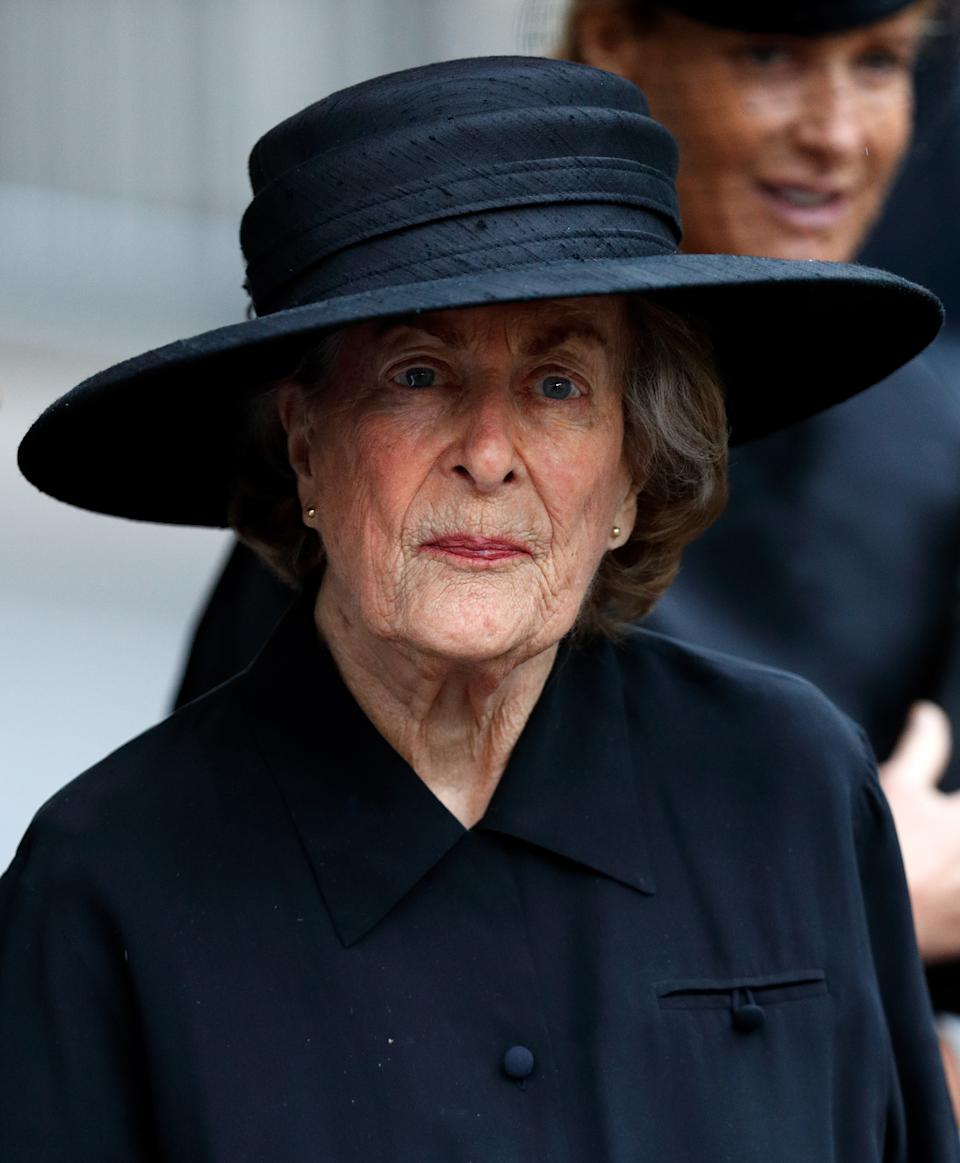 LONDON, UNITED KINGDOM - JUNE 27: (EMBARGOED FOR PUBLICATION IN UK NEWSPAPERS UNTIL 48 HOURS AFTER CREATE DATE AND TIME) Lady Pamela Hicks attends the funeral of Patricia Knatchbull, Countess Mountbatten of Burma at St Paul's Church, Knightsbridge on June 27, 2017 in London, England. Patricia, Countess Mountbatten of Burma daughter of Louis Mountbatten, 1st Earl Mountbatten of Burma and third cousin of Queen Elizabeth II died aged 93 on June 13 2017. (Photo by Max Mumby/Indigo/Getty Images)