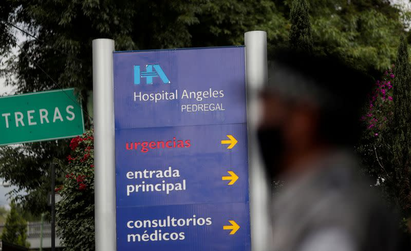 FILE PHOTO: A sign is pictured in front of the Angeles Pedregal Hospital in Mexico City