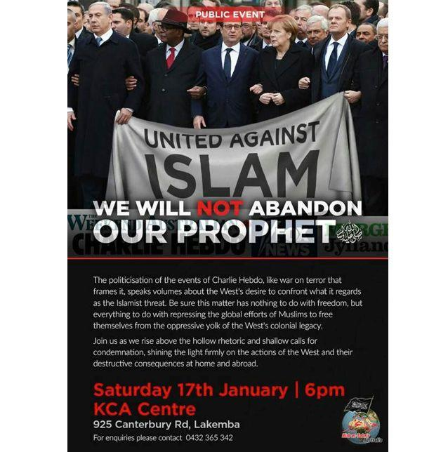 The flyer advertising Hizb –ut-Tahrir's 'Public Event' at Western Sydney
