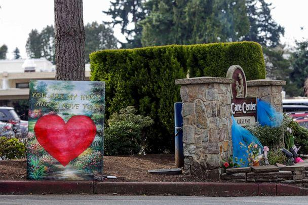 PHOTO: A sign is pictured at the entrance to Life Care Center of Kirkland, the Seattle-area nursing home which is one of the epicenters of the coronavirus disease outbreak, in Kirkland, Wash., March 17, 2020. (Jason Redmond/Reuters, FILE)